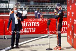 Race winner Max Verstappen (NLD) Red Bull Racing with Martin Brundle (GBR) Sky Sports Commentator in parc ferme. 09.08.2020. Formula 1 World Championship, Rd 5, 70th Anniversary Grand Prix, Silverstone, England, Race Day.