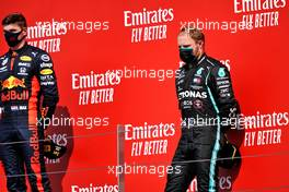 The podium (L to R): race winner Max Verstappen (NLD) Red Bull Racing and third placed Valtteri Bottas (FIN) Mercedes AMG F1.                09.08.2020. Formula 1 World Championship, Rd 5, 70th Anniversary Grand Prix, Silverstone, England, Race Day.