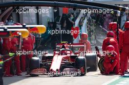 Charles Leclerc (MON) Ferrari SF1000 makes a pit stop. 09.08.2020. Formula 1 World Championship, Rd 5, 70th Anniversary Grand Prix, Silverstone, England, Race Day.