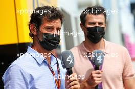 (L to R): Mark Webber (AUS) Channel 4 Presenter with Steve Jones (GBR) Channel 4 F1 Presenter. 08.08.2020. Formula 1 World Championship, Rd 5, 70th Anniversary Grand Prix, Silverstone, England, Qualifying Day.