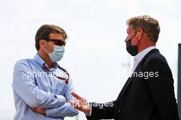 (L to R): Stuart Pringle (GBR) Silverstone Circuit Managing Director with David Coulthard (GBR) Red Bull Racing and Scuderia Toro Advisor / Channel 4 F1 Commentator. 08.08.2020. Formula 1 World Championship, Rd 5, 70th Anniversary Grand Prix, Silverstone, England, Qualifying Day.