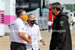(L to R): Zak Brown (USA) McLaren Executive Director; Alain Prost (FRA) Renault F1 Team Non-Executive Director; and Toto Wolff (GER) Mercedes AMG F1 Shareholder and Executive Director. 09.08.2020. Formula 1 World Championship, Rd 5, 70th Anniversary Grand Prix, Silverstone, England, Race Day.