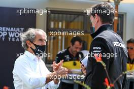 (L to R): Alain Prost (FRA) Renault F1 Team Non-Executive Director with Toto Wolff (GER) Mercedes AMG F1 Shareholder and Executive Director. 09.08.2020. Formula 1 World Championship, Rd 5, 70th Anniversary Grand Prix, Silverstone, England, Race Day.