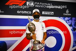 Lewis Hamilton (GBR) Mercedes AMG F1 with the Hawthorn Trophy. 06.08.2020. Formula 1 World Championship, Rd 5, 70th Anniversary Grand Prix, Silverstone, England, Preparation Day.