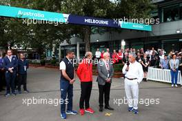 (L to R): Michael Masi (AUS) FIA Race Director; Andrew Wesatcott (AUS) Australian Grand Prix Corporation Chief Executive Officer; Paul Little (AUS) Chair of Australian Grand Prix Corporation; and Chase Carey (USA) Formula One Group Chairman, at an outdoor press conference following the cancellation of the Australian Grand Prix. 13.03.2020. Formula 1 World Championship, Rd 1, Australian Grand Prix, Albert Park, Melbourne, Australia, Practice Day.