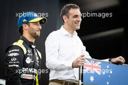 (L to R): Daniel Ricciardo (AUS) Renault F1 Team with Cyril Abiteboul (FRA) Renault Sport F1 Managing Director - livery reveal. 11.03.2020. Formula 1 World Championship, Rd 1, Australian Grand Prix, Albert Park, Melbourne, Australia, Preparation Day.