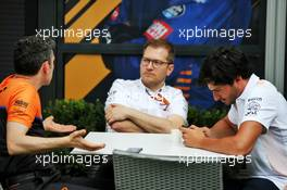 (L to R): Andrea Stella (ITA) McLaren Performance Director with Andreas Seidl, McLaren Managing Director and Carlos Sainz Jr (ESP) McLaren. 11.03.2020. Formula 1 World Championship, Rd 1, Australian Grand Prix, Albert Park, Melbourne, Australia, Preparation Day.