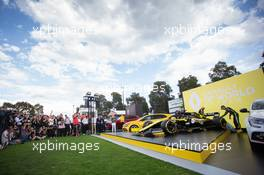 Esteban Ocon (FRA) Renault F1 Team and Daniel Ricciardo (AUS) Renault F1 Team - livery reveal. 11.03.2020. Formula 1 World Championship, Rd 1, Australian Grand Prix, Albert Park, Melbourne, Australia, Preparation Day.