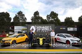 (L to R): Glen Hilton, DP World Australia CEO & Managing Director; Esteban Ocon (FRA) Renault F1 Team; Daniel Ricciardo (AUS) Renault F1 Team; Cyril Abiteboul (FRA) Renault Sport F1 Managing Director - livery reveal. Australian Grand Prix, Wednesday 11th March 2020. Albert Park, Melbourne, Australia. 11.03.2020. Formula 1 World Championship, Rd 1, Australian Grand Prix, Albert Park, Melbourne, Australia, Preparation Day.