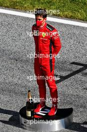 Second placed Charles Leclerc (MON) Ferrari on the podium. 05.07.2020. Formula 1 World Championship, Rd 1, Austrian Grand Prix, Spielberg, Austria, Race Day.