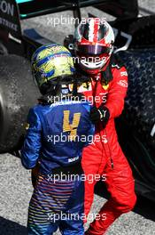 Lando Norris (GBR) McLaren celebrates his third position with second placed Charles Leclerc (MON) Ferrari in parc ferme. 05.07.2020. Formula 1 World Championship, Rd 1, Austrian Grand Prix, Spielberg, Austria, Race Day.