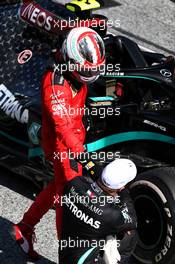 Race winner Valtteri Bottas (FIN) Mercedes AMG F1 celebrates with third placed Charles Leclerc (MON) Ferrari in parc ferme.  05.07.2020. Formula 1 World Championship, Rd 1, Austrian Grand Prix, Spielberg, Austria, Race Day.