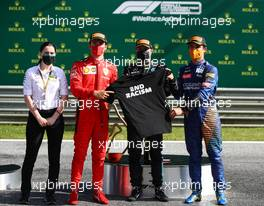 The podium (L to R): Charles Leclerc (MON) Ferrari, second; Valtteri Bottas (FIN) Mercedes AMG F1, race winner; Lando Norris (GBR) McLaren, third.