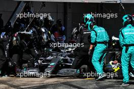 Valtteri Bottas (FIN) Mercedes AMG F1 W11 practices a pit stop. 20.02.2020. Formula One Testing, Day Two, Barcelona, Spain. Thursday.