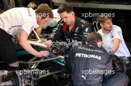Mercedes AMG F1 W11 worked on by mechanics. 20.02.2020. Formula One Testing, Day Two, Barcelona, Spain. Thursday.