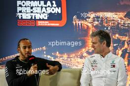 (L to R): Lewis Hamilton (GBR) Mercedes AMG F1 and James Allison (GBR) Mercedes AMG F1 Technical Director in the FIA Press Conference. 20.02.2020. Formula One Testing, Day Two, Barcelona, Spain. Thursday.