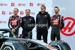 (L to R): Kevin Magnussen (DEN) Haas F1 Team; Gene Haas (USA) Haas Automotion President; Guenther Steiner (ITA) Haas F1 Team Prinicipal; Romain Grosjean (FRA) Haas F1 Team. 19.02.2020. Formula One Testing, Day One, Barcelona, Spain. Wednesday.