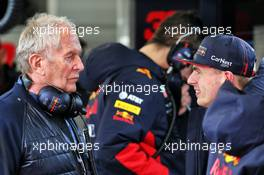 (L to R): Dr Helmut Marko (AUT) Red Bull Motorsport Consultant with Max Verstappen (NLD) Red Bull Racing. 19.02.2020. Formula One Testing, Day One, Barcelona, Spain. Wednesday.