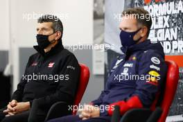 (L to R): Guenther Steiner (ITA) Haas F1 Team Prinicipal and Christian Horner (GBR) Red Bull Racing Team Principal in the FIA Press Conference. 28.08.2020. Formula 1 World Championship, Rd 7, Belgian Grand Prix, Spa Francorchamps, Belgium, Practice Day.