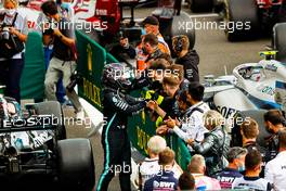 Race winner Lewis Hamilton (GBR) Mercedes AMG F1 celebrates with the team in parc ferme. 30.08.2020. Formula 1 World Championship, Rd 7, Belgian Grand Prix, Spa Francorchamps, Belgium, Race Day.