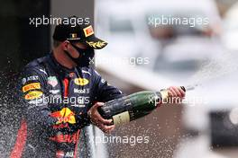 Max Verstappen (NLD) Red Bull Racing celebrates his third position on the podium. 30.08.2020. Formula 1 World Championship, Rd 7, Belgian Grand Prix, Spa Francorchamps, Belgium, Race Day.