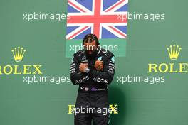 Race winner Lewis Hamilton (GBR) Mercedes AMG F1 celebrates on the podium. 30.08.2020. Formula 1 World Championship, Rd 7, Belgian Grand Prix, Spa Francorchamps, Belgium, Race Day.