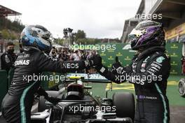 (L to R): Valtteri Bottas (FIN) Mercedes AMG F1 celebrates with race winner Lewis Hamilton (GBR) Mercedes AMG F1 in parc ferme. 30.08.2020. Formula 1 World Championship, Rd 7, Belgian Grand Prix, Spa Francorchamps, Belgium, Race Day.