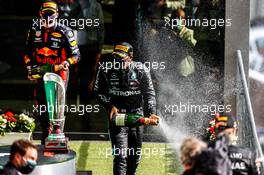 Race winner Lewis Hamilton (GBR) Mercedes AMG F1 celebrates with Max Verstappen (NLD) Red Bull Racing on the podium. 30.08.2020. Formula 1 World Championship, Rd 7, Belgian Grand Prix, Spa Francorchamps, Belgium, Race Day.