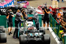 Race winner Lewis Hamilton (GBR) Mercedes AMG F1 celebrates with second placed team mate Valtteri Bottas (FIN) in parc ferme. 30.08.2020. Formula 1 World Championship, Rd 7, Belgian Grand Prix, Spa Francorchamps, Belgium, Race Day.