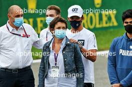 Nathalie Hubert (FRA) with Pierre Gasly (FRA) AlphaTauri - a minute's silence for Anthoine Hubert is observed before the F2 race. 29.08.2020. Formula 1 World Championship, Rd 7, Belgian Grand Prix, Spa Francorchamps, Belgium, Qualifying Day.
