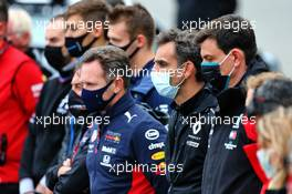 Cyril Abiteboul (FRA) Renault Sport F1 Managing Director - a minute's silence for Anthoine Hubert is observed before the F2 race. 29.08.2020. Formula 1 World Championship, Rd 7, Belgian Grand Prix, Spa Francorchamps, Belgium, Qualifying Day.