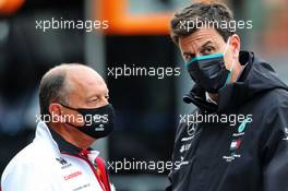 (L to R): Frederic Vasseur (FRA) Alfa Romeo Racing Team Principal with Toto Wolff (GER) Mercedes AMG F1 Shareholder and Executive Director. 29.08.2020. Formula 1 World Championship, Rd 7, Belgian Grand Prix, Spa Francorchamps, Belgium, Qualifying Day.