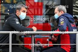 (L to R): Cyril Abiteboul (FRA) Renault Sport F1 Managing Director with Paul Monaghan (GBR) Red Bull Racing Chief Engineer. 30.08.2020. Formula 1 World Championship, Rd 7, Belgian Grand Prix, Spa Francorchamps, Belgium, Race Day.