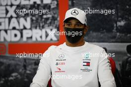 Lewis Hamilton (GBR) Mercedes AMG F1 in the FIA Press Conference. 27.08.2020. Formula 1 World Championship, Rd 7, Belgian Grand Prix, Spa Francorchamps, Belgium, Preparation Day.