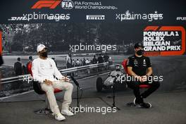 (L to R): Lewis Hamilton (GBR) Mercedes AMG F1 and Valtteri Bottas (FIN) Mercedes AMG F1 in the FIA Press Conference. 27.08.2020. Formula 1 World Championship, Rd 7, Belgian Grand Prix, Spa Francorchamps, Belgium, Preparation Day.
