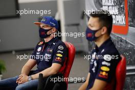 (L to R): Max Verstappen (NLD) Red Bull Racing and Alexander Albon (THA) Red Bull Racing in the FIA Press Conference. 27.08.2020. Formula 1 World Championship, Rd 7, Belgian Grand Prix, Spa Francorchamps, Belgium, Preparation Day.