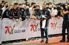 Race winner Lewis Hamilton (GBR) Mercedes AMG F1 celebrates in parc ferme. 29.11.2020. Formula 1 World Championship, Rd 15, Bahrain Grand Prix, Sakhir, Bahrain, Race Day.