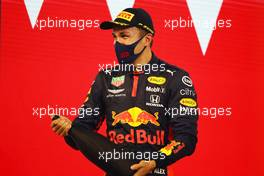 Alexander Albon (THA) Red Bull Racing celebrates his third position on the podium. 29.11.2020. Formula 1 World Championship, Rd 15, Bahrain Grand Prix, Sakhir, Bahrain, Race Day.