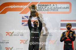 Race winner Lewis Hamilton (GBR) Mercedes AMG F1 celebrates on the podium. 29.11.2020. Formula 1 World Championship, Rd 15, Bahrain Grand Prix, Sakhir, Bahrain, Race Day.