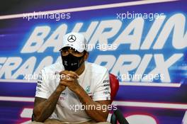 Lewis Hamilton (GBR) Mercedes AMG F1 in the post qualifying FIA Press Conference. 28.11.2020. Formula 1 World Championship, Rd 15, Bahrain Grand Prix, Sakhir, Bahrain, Qualifying Day.