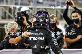 Lewis Hamilton (GBR) Mercedes AMG F1 W11 celebrates his pole position in qualifying parc ferme. 28.11.2020. Formula 1 World Championship, Rd 15, Bahrain Grand Prix, Sakhir, Bahrain, Qualifying Day.