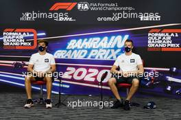 (L to R): Pierre Gasly (FRA) AlphaTauri and team mate Daniil Kvyat (RUS) AlphaTauri in the FIA Press Conference. 26.11.2020. Formula 1 World Championship, Rd 15, Bahrain Grand Prix, Sakhir, Bahrain, Preparation Day.
