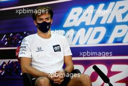 Pierre Gasly (FRA) AlphaTauri in the FIA Press Conference. 26.11.2020. Formula 1 World Championship, Rd 15, Bahrain Grand Prix, Sakhir, Bahrain, Preparation Day.