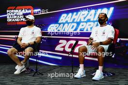 (L to R): Valtteri Bottas (FIN) Mercedes AMG F1 and team mate Lewis Hamilton (GBR) Mercedes AMG F1 in the FIA Press Conference. 26.11.2020. Formula 1 World Championship, Rd 15, Bahrain Grand Prix, Sakhir, Bahrain, Preparation Day.