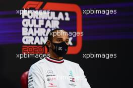 Lewis Hamilton (GBR) Mercedes AMG F1 in the FIA Press Conference. 26.11.2020. Formula 1 World Championship, Rd 15, Bahrain Grand Prix, Sakhir, Bahrain, Preparation Day.