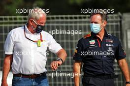 (L to R): Dr Helmut Marko (AUT) Red Bull Motorsport Consultant and Christian Horner (GBR) Red Bull Racing Team Principal. 14.08.2020 Formula 1 World Championship, Rd 6, Spanish Grand Prix, Barcelona, Spain, Practice Day.