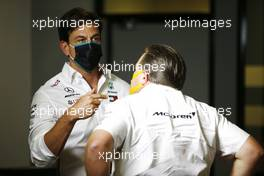 (L to R): Toto Wolff (GER) Mercedes AMG F1 Shareholder and Executive Director with Zak Brown (USA) McLaren Executive Director in the FIA Press Conference. 14.08.2020 Formula 1 World Championship, Rd 6, Spanish Grand Prix, Barcelona, Spain, Practice Day.