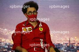 Mattia Binotto (ITA) Ferrari Team Principal in the FIA Press Conference. 14.08.2020 Formula 1 World Championship, Rd 6, Spanish Grand Prix, Barcelona, Spain, Practice Day.