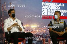 (L to R): Toto Wolff (GER) Mercedes AMG F1 Shareholder and Executive Director and Mario Isola (ITA) Pirelli Racing Manager in the FIA Press Conference. 14.08.2020 Formula 1 World Championship, Rd 6, Spanish Grand Prix, Barcelona, Spain, Practice Day.