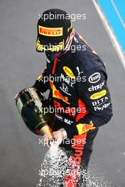 Max Verstappen (NLD) Red Bull Racing celebrates his second position with the champagne on the podium. 16.08.2020. Formula 1 World Championship, Rd 6, Spanish Grand Prix, Barcelona, Spain, Race Day.